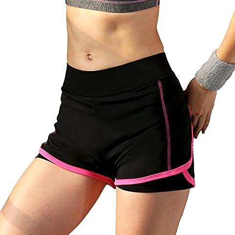 Encounter 2 in 1 Damen Shorts Kurze Hosen Yogahose Sporthose Trainingshose Jogginhose Pants Stretch Short (Fuchsie, M)