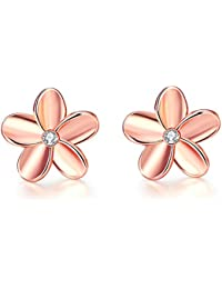 a54f67f8d871 FJYOURIA Ladies Gold Earings Womens Rose Gold Sliver Color Flower Shaped  Sparkly Rhinestone Stud Earrings