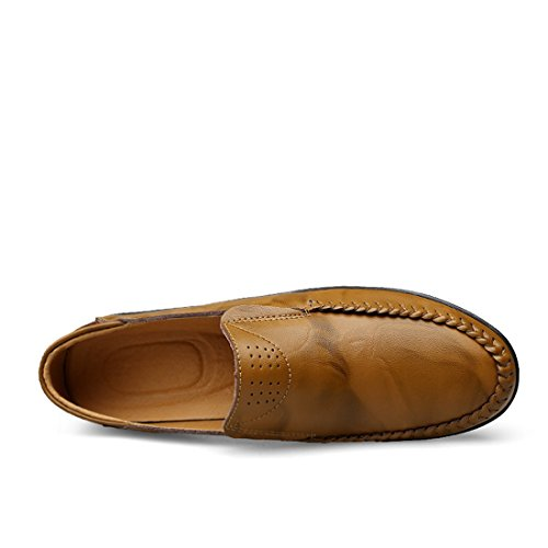 Minitoo Boys Mens Soft Sole Synthetic Comfortable Slip-On Loafers Khaki