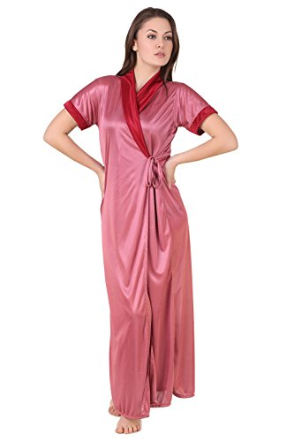 Masha Women Satin Coat Nightdresses & Nightshirt (Hcl74-255 _Mauve _Free Size)