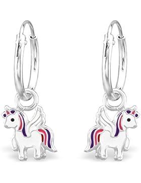JAYARE Kinder-Creolen Einhorn 925 Sterling Silber Emaille 21 x 7 mm weiß lila violett Ohrringe