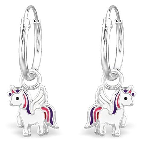 JAYARE Boucles d'oreilles Enfants licornes chevaux 21 x 7 mm Email argent sterling 925 multicolore avec étui de cadeau pendantes d'oreilles fille