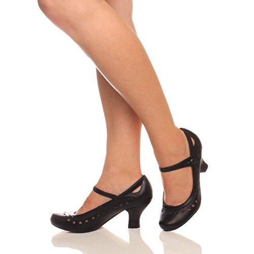 Damen Herzmuster Mary Jane Mittlerer Absatz Feinmachen Pumps Schuhe Größe 38 5 - 5