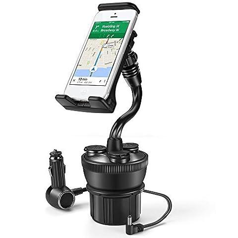 TNP Smartphone KFZ Halterung Halter Ladegerät Station–Universal KFZ-Halterung mit 3Steckdosen und 2USB-Lade-Port 2.1A für iPhone 7, 7Plus, 6, 6Plus, Samsung Galaxy Android Smart Handy, Kamera