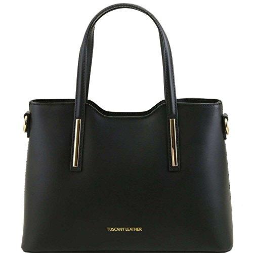 Tuscany Leather - Olimpia - Sac cabas en cuir Ruga - Petit modèle - Noir