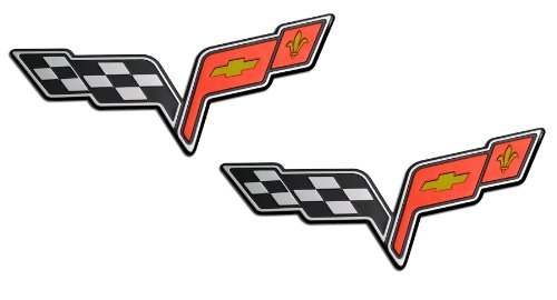2x (pair/set) LARGE CROSSED FLAGS WINGS Fender Real Aluminum Auto Emblems Badges Nameplates for Chevrolet Corvette C6 05 06 07 08 09 10 11 12 13 2005 2006 2007 2008 2009 2010 2011 2012 2013 (any year model - Universal Fitment)