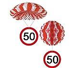 bb10 Schmuck 50.Geburtstag Deko Hängedeko Fallschirm und Ballon mit Zahl 50 Dekoration zum 50er Geburtstag Party oder andere Anlässe