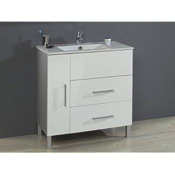 Waschtisch Florenz 80 cm (Farbe: Front hochglanz weiß/ Korpus ...