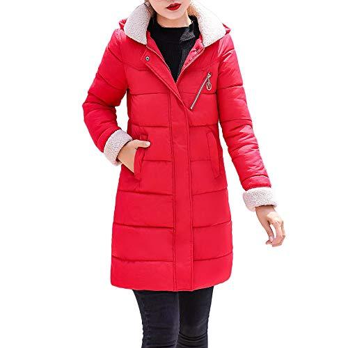 MIRRAY Damen Solide Winter Warme Mantel mit Kapuze Dünne Jacke Langen Mantel