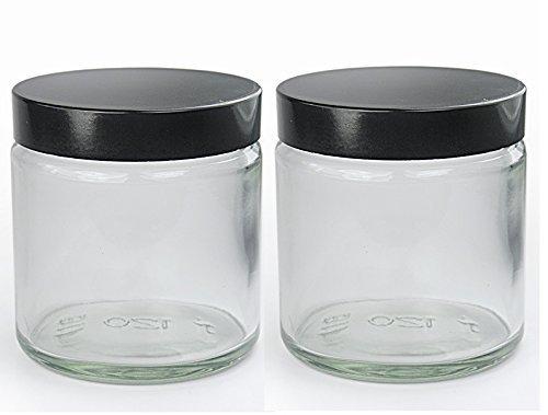 Paquet de 2 x 120ml Transparent Verre produits de beauté Bocaux avec noir couvercles. approprié pour l'aromathérapie, Crèmes, Gels, Sérums, Wax, Onguents etc