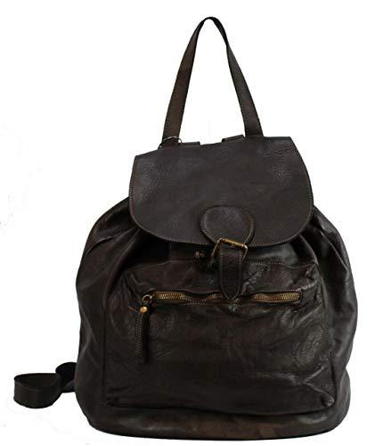 BZNA Bag Kaya Braun moro Backpacker Designer Rucksack Damenhandtasche Schultertasche Leder Italy Neu