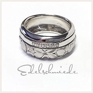 floraler Silberring 925/- Silber rhod mit Zirkonia #54