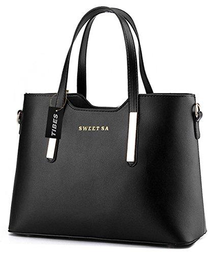 Tibes lusso PU borsa in pelle borsa a tracolla di tote di modo Nero