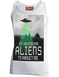 Darkside, Im Waiting For Aliens To Abduct Me – weißes T-Shirt ohne Ärmel