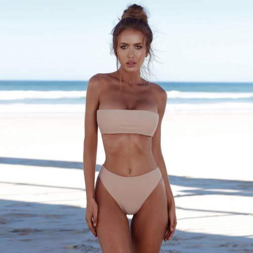 SMILEQ Femme Bandeau Bandage Ensemble bikini push-up brésilien maillots de bain sans bretelles Wrap Taille haute pièces Maillot de bain, rose, petit