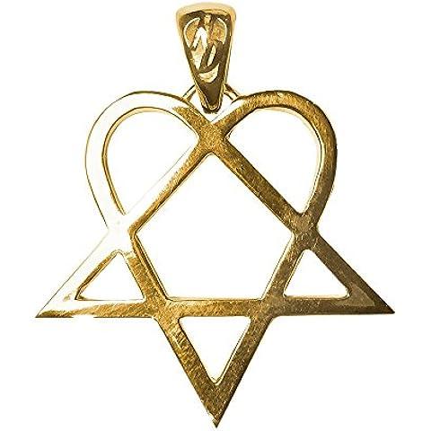 Collana pendente amuleto del cuore argento sterling placcato oro + Stella Hertagramm Pentagram intero + dorato