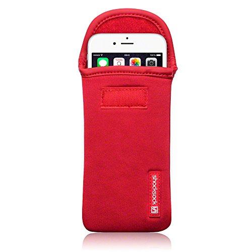 Shocksock, Kompatibel mit iPhone 6S / iPhone 6 Neopren Tasche mit Carabiner Hülle - Rot EINWEG