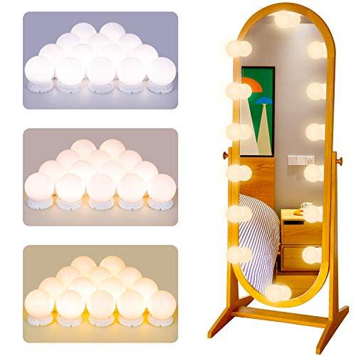 POVO Luces para Espejo de Maquillaje 14 Bombillas Regulables LED Lámpara Kit de Espejo...