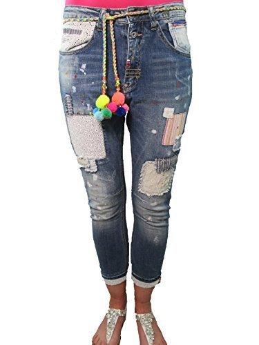 Wiya Italy Blogger Boyfriend Hippie Flicken Patches Jeans XS