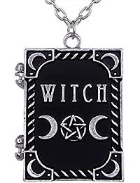 Collar Gótico de Restyle con Medallón de Libro de Bruja con Marcos para Fotos Ocultismo Brujería
