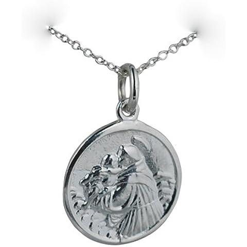 Ciondolo St Antoine di Padova rotondo di 18mm in argento con catena rolo