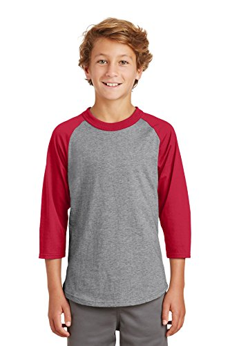 Sport-Tek® Youth Colorblock Raglan Jersey. YT200 Heather Grey/Red S (Colorblock Raglan-jersey-shirt)