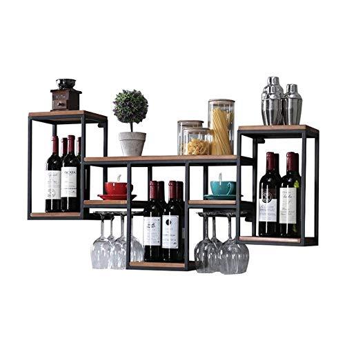 N / a gabbia della bottiglia di semplicità creativa in metallo portabottiglie in legno per montaggio a parete scaffale da parete rustico rustico semplicità creativa per lo stoccaggio porta vino