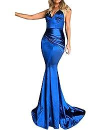 1fe2b1a074 Vestidos de Fiesta Mujer SUNNSEAN Color Sólido Tirantes sin Mangas Disfraz  de Sirena Espalda Abierta Sexy de Moda Atractiva Faldas Largas…