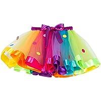 FENICAL Falda tutú de Arco Iris para niñas, Vestido de Baile con Volantes de Colores de Tul para niñas (sx-rt077 m)