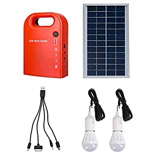 MeetUs Portable Home Outdoor Generation System Small DC Solar Panels Lighting Charging Generator Power System, 2 Pcs Lighting Bulb + 4 In 1 USB Charging Cable