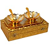 Royal Sapphire Gold & Silver Plated Floral Bowls And Spoon With Tray