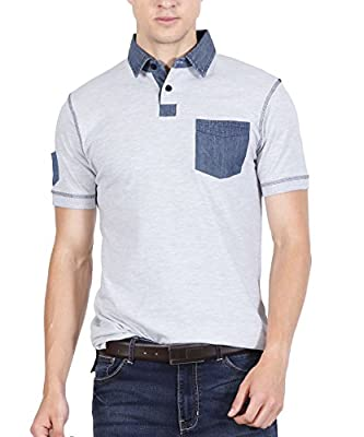 Fanideaz Men's Denim Collar Premium Polo Tshirt
