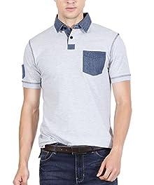 ad73814e426 Fanideaz Men s Denim Polo T shirt Premium Denim T Shirt L