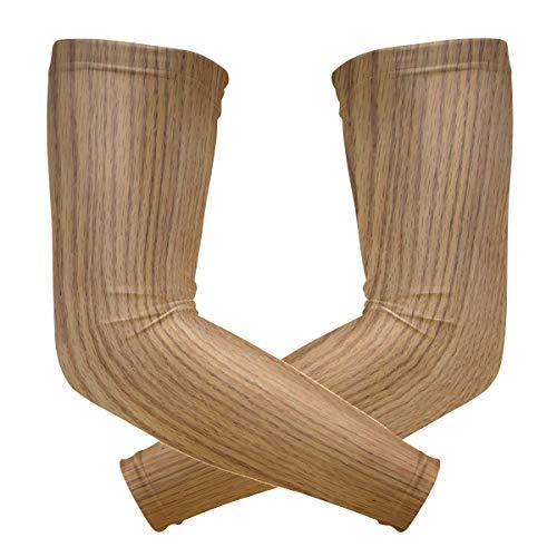 FAJRO Holzstruktur Muster UV-Schutz Outdoor Sport Sonnenschutz Arm Sleeve Bike Radfahren Kompression