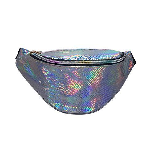Mariisay Gürteltasche Hologramm Mesh Pu Leder Casual Chic Running Fanny Pack Wasserdicht Taille Tasche Perfekt Für Wanderungen Und Festivals Blau Taschen (Color : Snake Silver, Size : One Size) -
