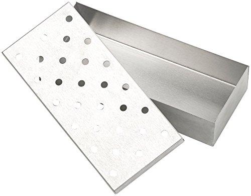 414xz yusiL - Rosenstein & Söhne Smokerbox: Räucherbox aus rostfreiem Edelstahl, für Gas- und Holzkohlegrills (BBQ-Räucherbox)