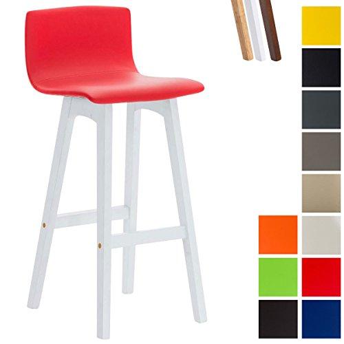 Clp sgabello bar taunus in similpelle e legno di caucciù 4 gambe i sedia alta cucina con schienale i sgabello alto bancone, h72cm rosso base bianco