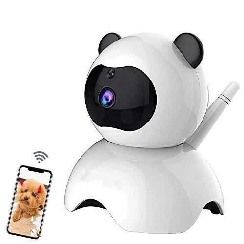 Haustier Kamera,Hund IP Cam,Wlan IP Kamera,1080P HD 2.4G-WiFi Überwachungskamera,mit 350°/100°Schwenkbar,Home Indoor Kamera und Baby Monitor mit Bewegungserkennung, Zwei-Wege-Audio, Nachtsicht, unterstützt Fernalarm und Mobile App Kontrolle (Panda Kamera 1080P) - Motion Recorder Sensor Voice