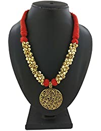 Flower Style Ghunghuru Necklace In Gold Plated Work In Red Color Thread In Choker Style For Women/Girls