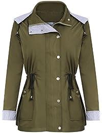 FISOUL Veste Imperméable à Capuche Veste de Pluie à Manches Longues Manteau Coupe-vent pour Femme