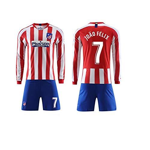 FAN-FASHION Herren Langarm-T-Shirt mit Shorts Anzug Anzug Rote und weiße Spur Atletico Madrid Jersey 19-20 Fußballturnier Trainingsanzug tragen Uniformen Fußball-Bekleidung Fußball-Set (Size : S)