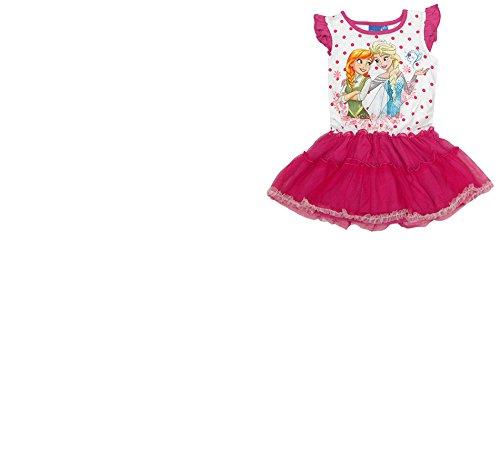 DISNEY´s FROZEN Die Eiskönigin Anna Elsa Sommer Kleid Tütü rosa pink blau 98-134 (128 / 8 Jahre, (Elsa Tutu Frozen)