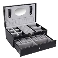 Jewelry Storage Box Double layer Jewelry Box with Drawer Case for Watch Jewelry Display