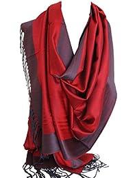 Bullahshah dos caras reversible Pashmina Llanura Feel bufanda del abrigo del mantón de la estola pañuelos en la cabeza