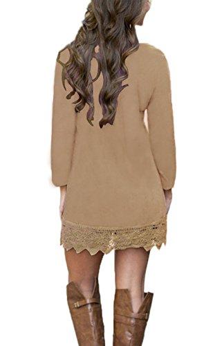 Summer Mae Damen A-line Lace Quaste Beiläufigkeit Herbst Kleid Retro-Look Dress Khaki