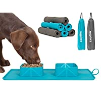 EasyPets 'RollaBowl' Travel Dog Bowl. Portable Double Roll Up Pet Bowls with Carry Case. Collapsible silicone bowl for…