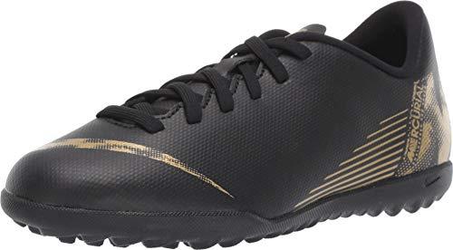 Nike Unisex-Kinder VaporX XII Club TF Fußballschuhe, Schwarz (Black/MTLC Vivid Gold 077), 37.5 EU (Nike Fussball-kinder-schuhe)