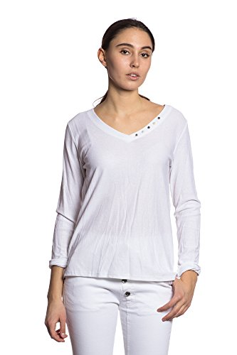 Abbino IG006 Shirts Tops Damen - Made in Italy - Viele Farben - Übergang Frühling Sommer Herbst Komfortabel Damenkleider Feminin Sexy Festlich Elegant Vintage Modern Fashion Sexy Flexibel Weiss (Art. 4584)