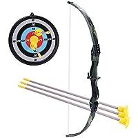 LVPY Set de Tiro con Arco de Juguete para Niños Arco Flecha Estuche Juegos de con 3 Flechas de Tiro,Negro