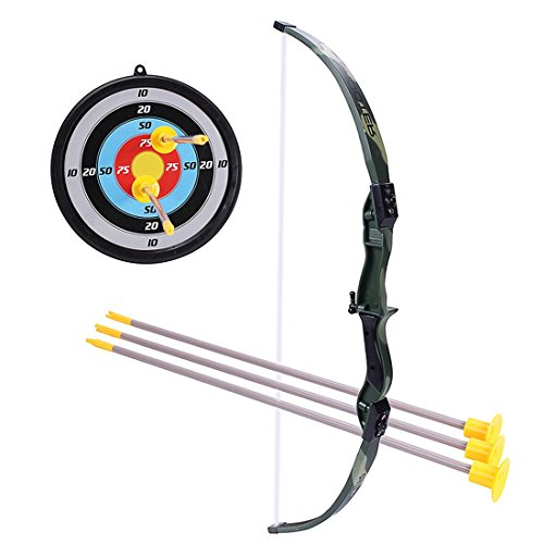 iVansa Pfeil Bogen Kinder Set 3 Pfeile Saugnapf 49cm mit Bogenschießen Ziel für Jungs ab 5 Jahre (Pfeil Ziel Bow)